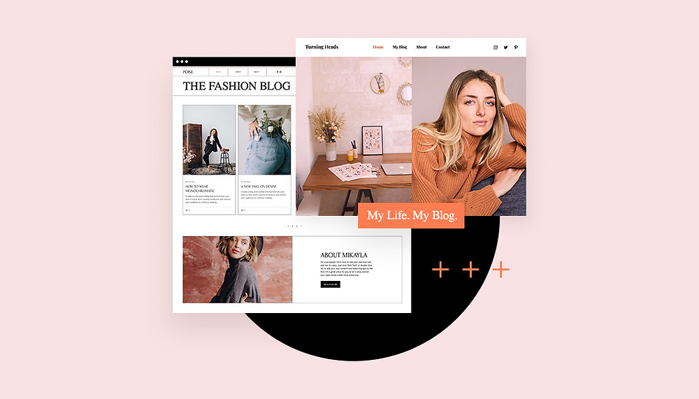 Bild mit der Ansicht zweier Blog Templates vor rosa Hintergrund