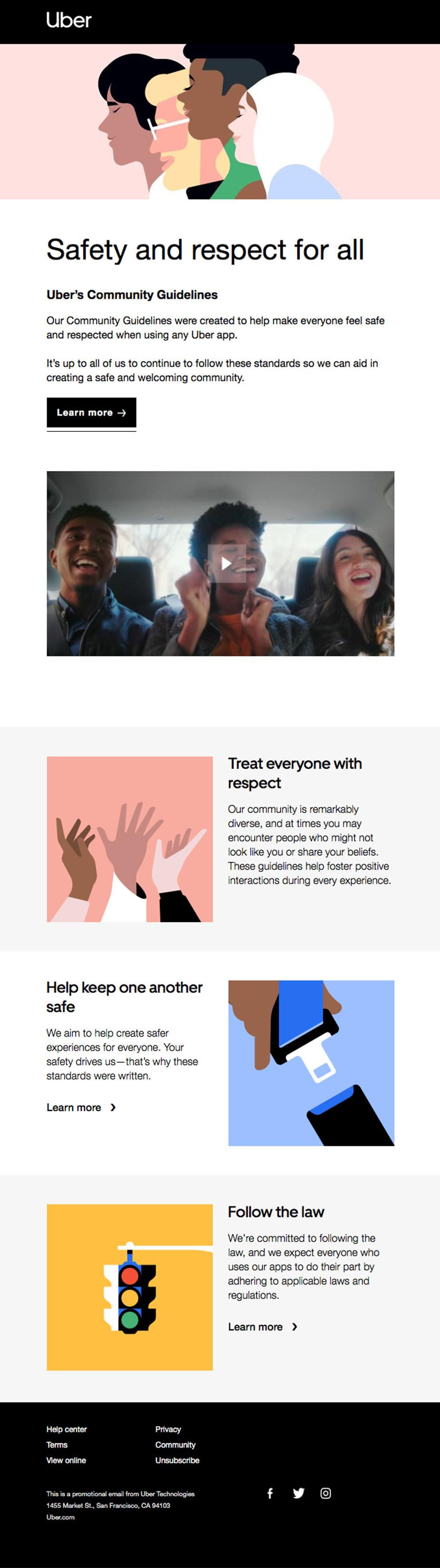 Uber newsletter design