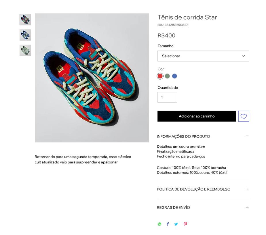 Imagem da página de produtos da Wix Stores
