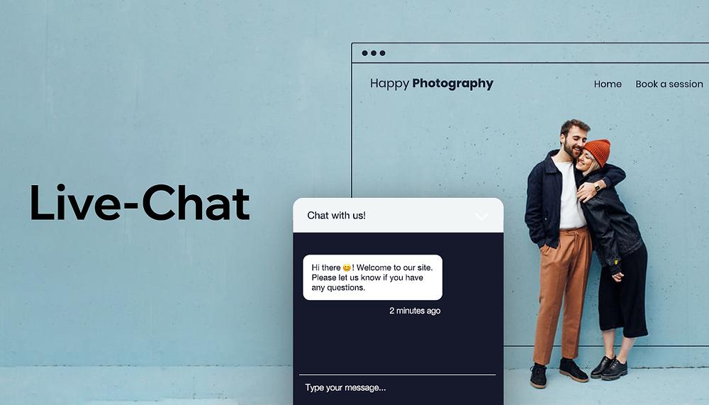 Abbildung einer Fotografie Website mit Live-Chat-Funktion