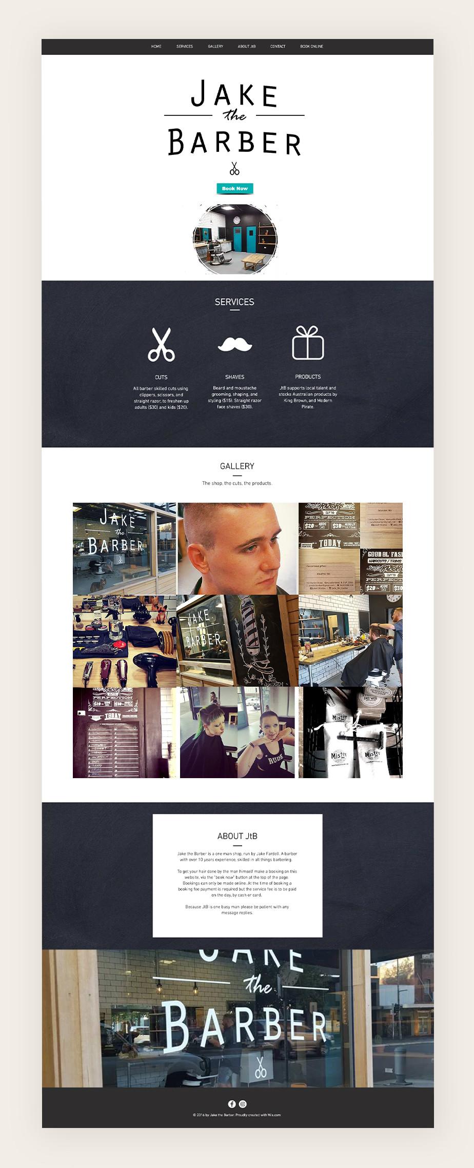 Website von Jake the Barber als Beispiel für eine Website die Terminbuchungen anbietet