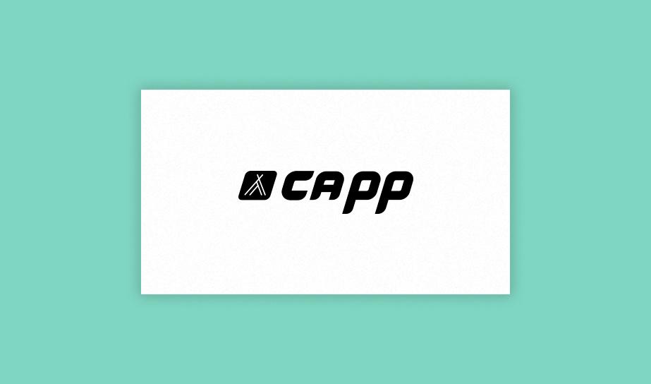 """Exemplo de logo no estilo de monograma para a marca fictícia """"Capp"""""""