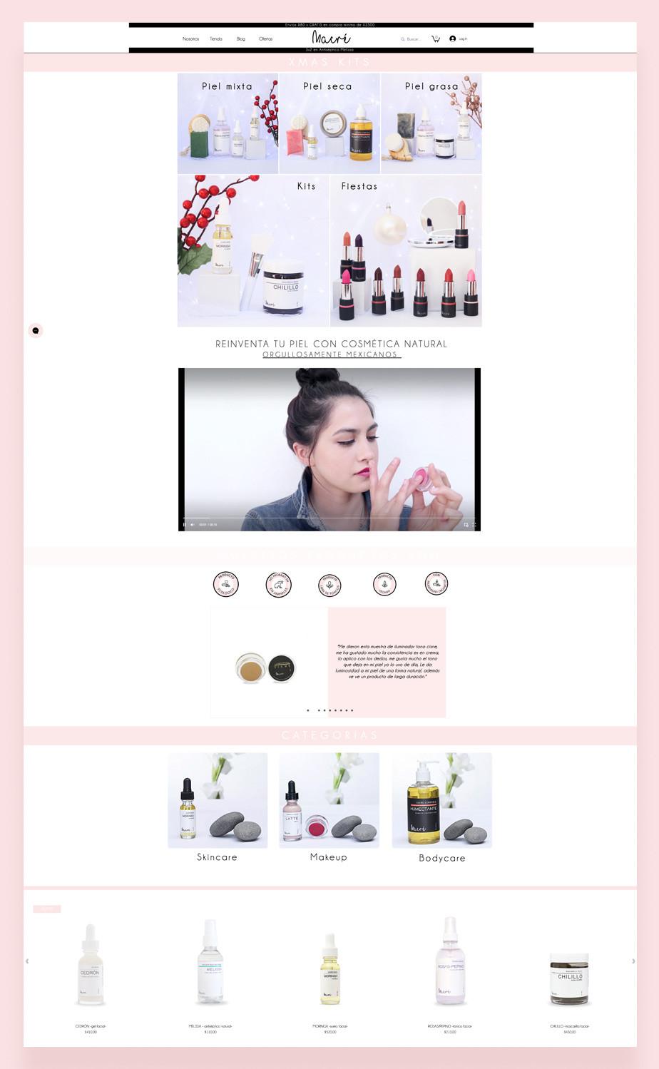 Captura de pantalla de Macre Cosmetics como ejemplo de las mejores tiendas ecologicas online