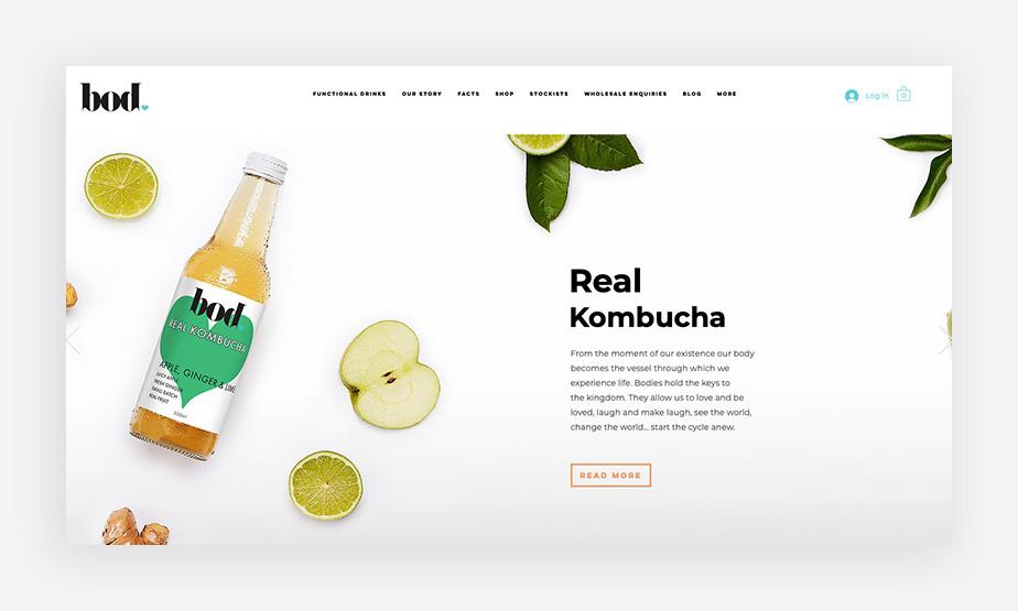 건강하고 활기가 가득한 제품 사진이 시선을 끄는 보드드링크의 웹사이트