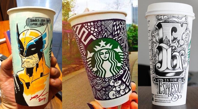 Imagen de la campaña white cup contest de Starbucks