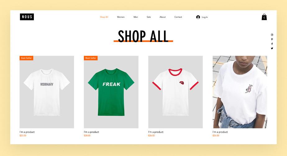Loja virtual de camisetas