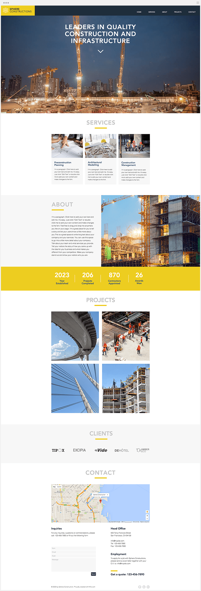 Template Site Wix Construction Bâtiment