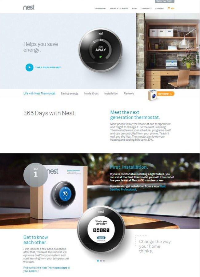 Capture d'écran du site Nest