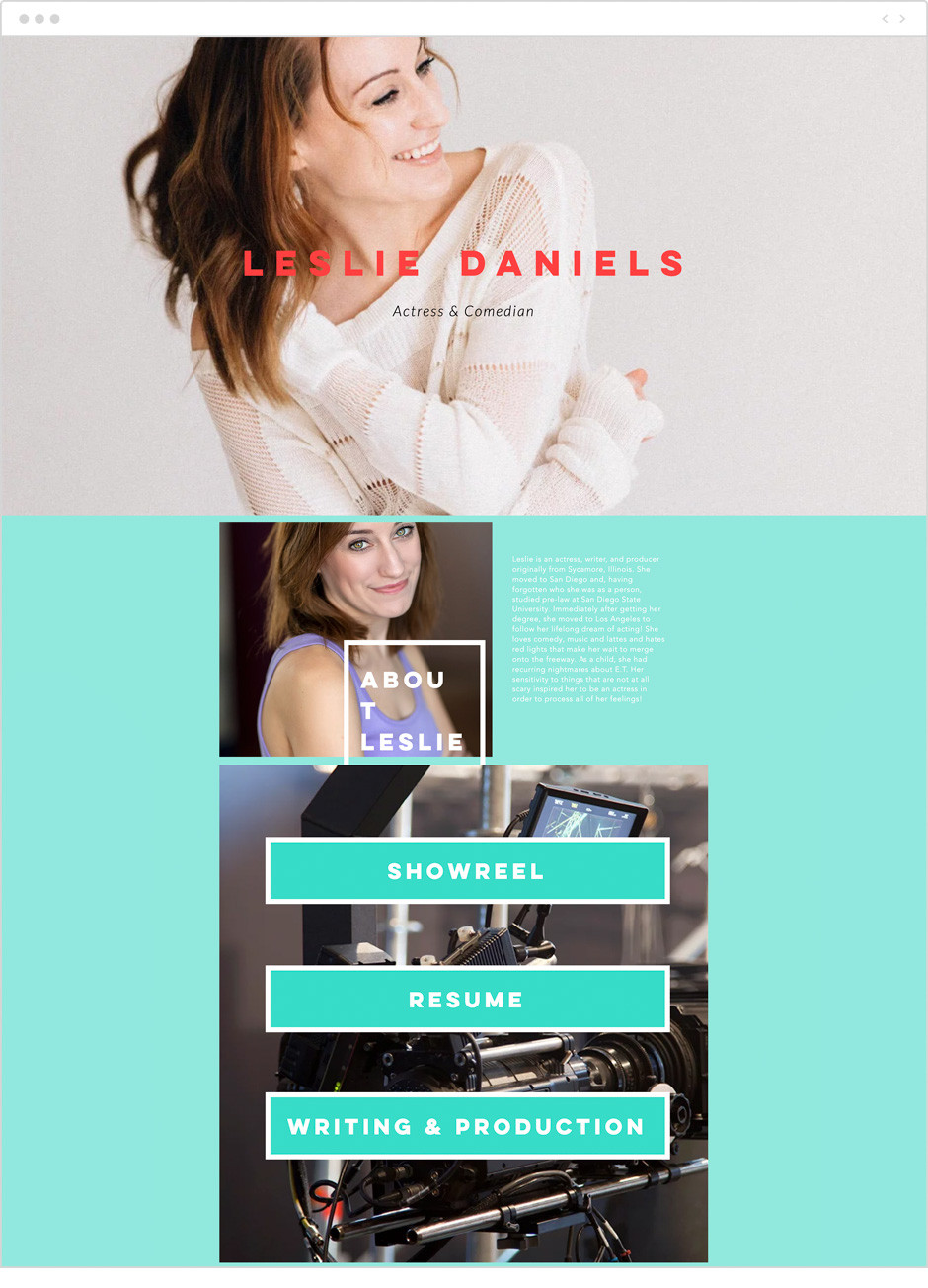 Actor website by Leslie Daniels