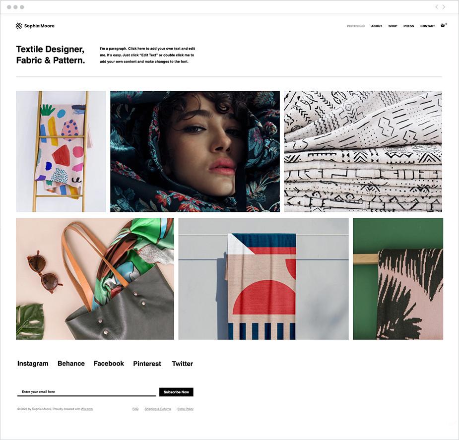 Szablon strony internetowej projektanta tekstyliów