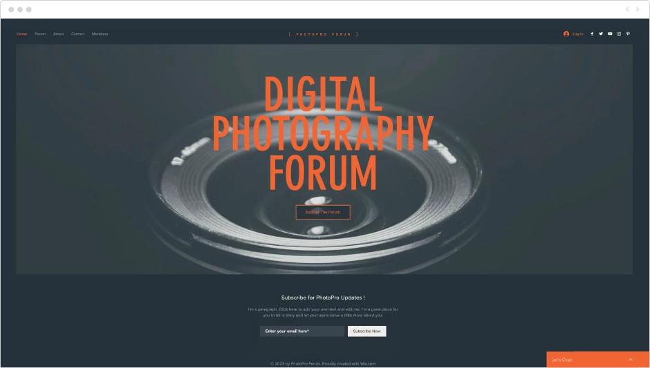Template de site pour forum de photo numérique