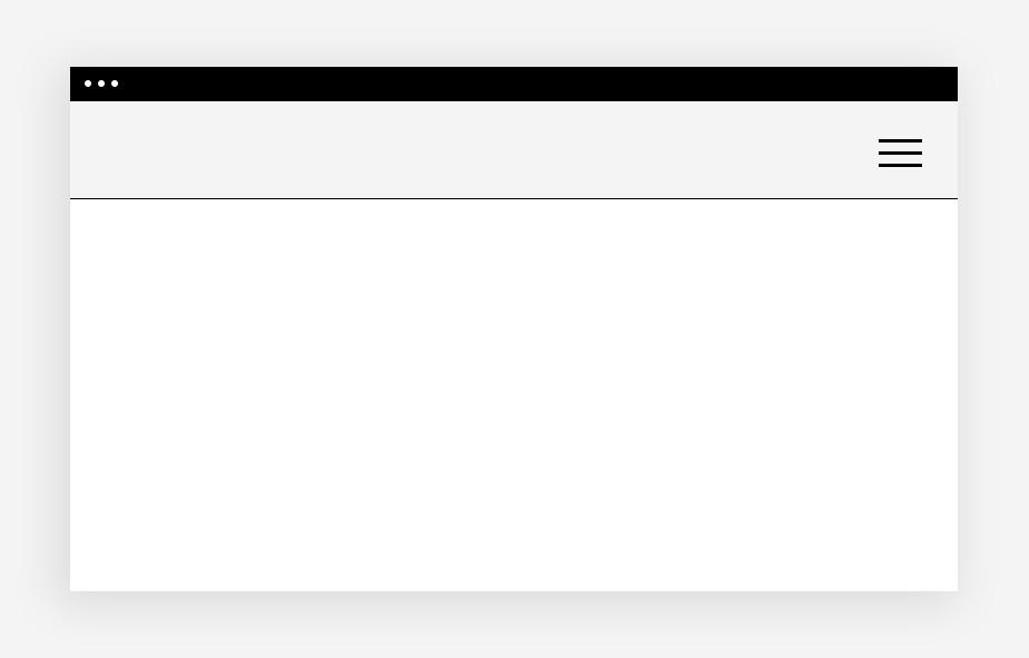 Ansicht eines Hamburger-Menüs auf einem leeren Website-Mockup