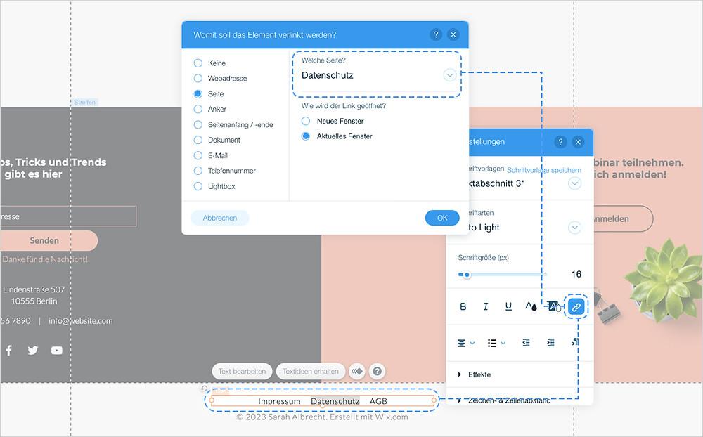 Screenshot davon, wie ein Impressum zu einer Website von Wix hinzugefügt wird
