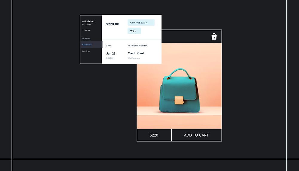 Screenshot ver schiedener Rückbuchungsoptionen von Wix Payments mit blauer Handtasche
