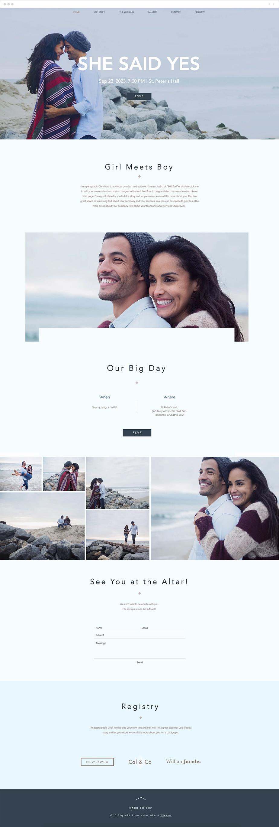 Plantilla web Wix para web de boda moderna