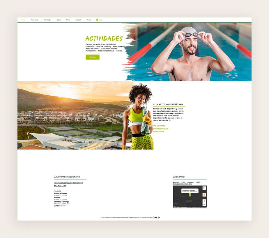Página web de reservas de Club Altozano