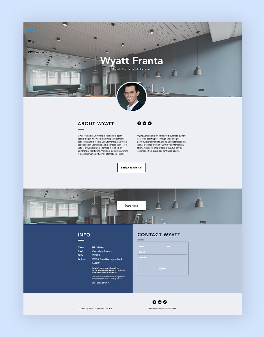 Exemplo de site que utiliza o Wix Bookings: site do corretor de imóveis Wyatt Franta