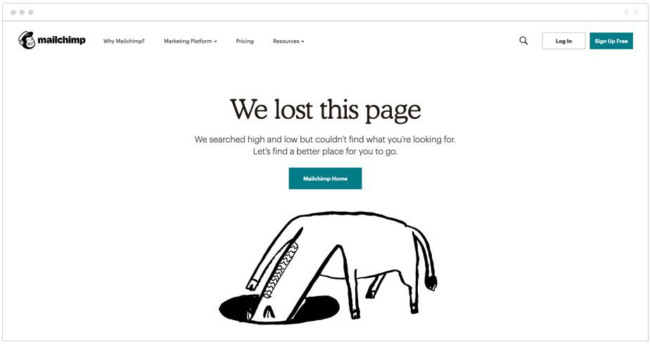 MailChimp 404 page design