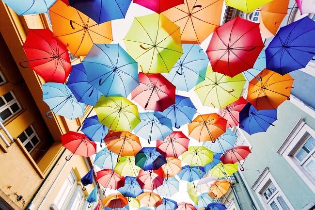 Parapluies de toutes les couleurs