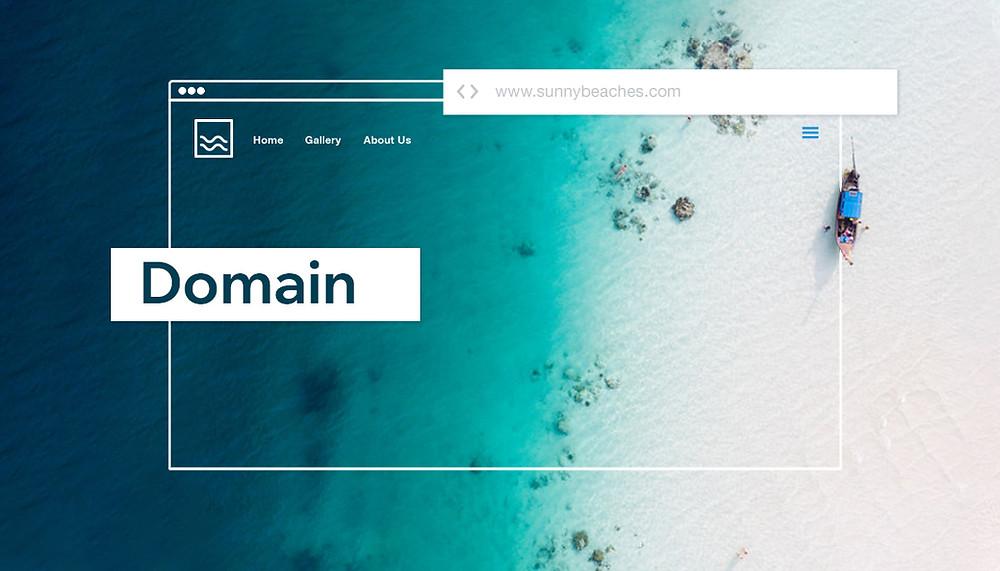 bir sahil görüntüsü ve üzerinde bir web sitesi şeması. domain yazısı.
