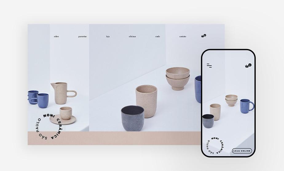 사용자의 편의성을 고려한 디자인이 돋보이는 노니 세라미카 모바일 웹사이트