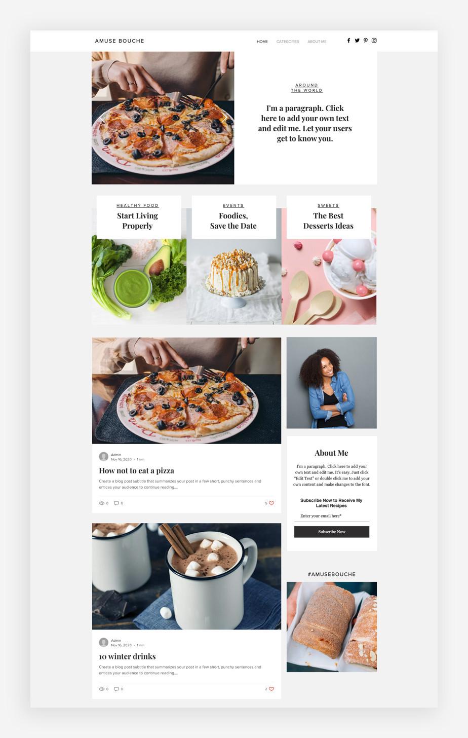 Plantilla de blog de comida