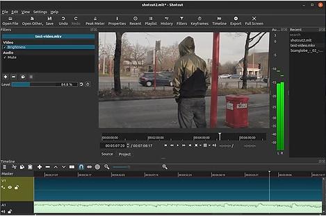 Interface des Videobearbeitungsprogramms von Shotcut