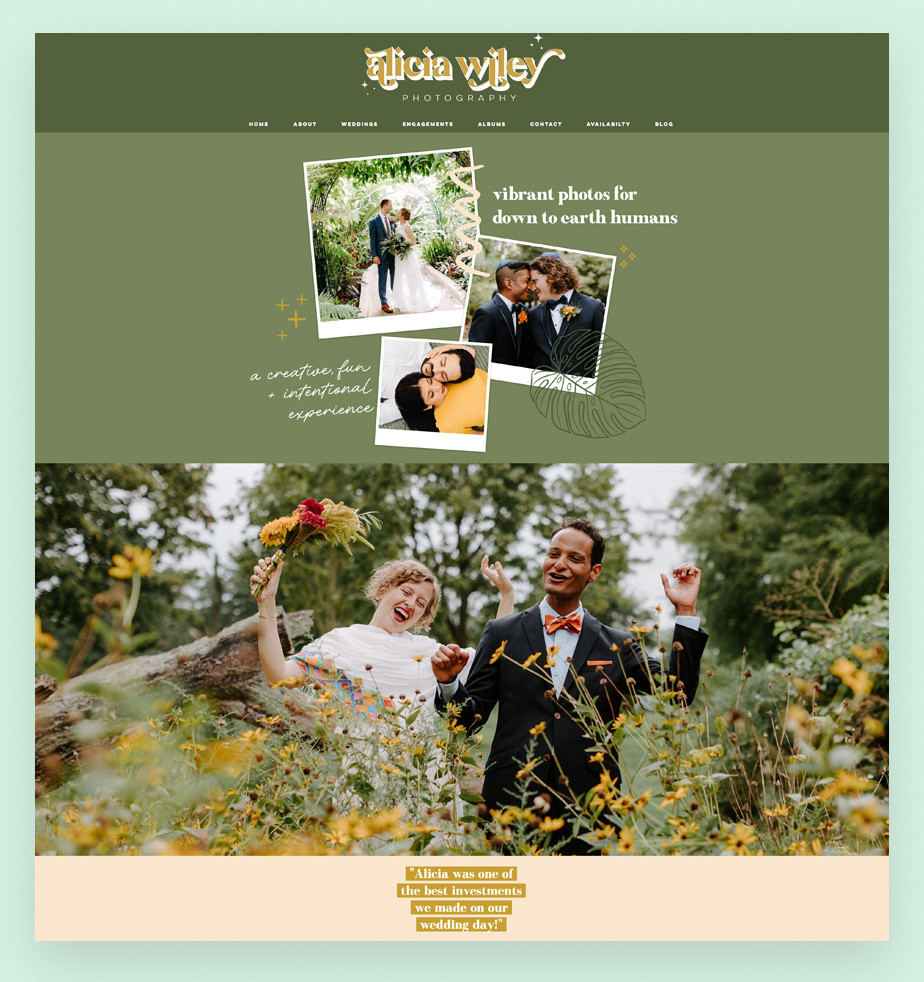 Screenshot da página inicial do site de portfolio da fotógrafa de casamentos Alicia Wiley