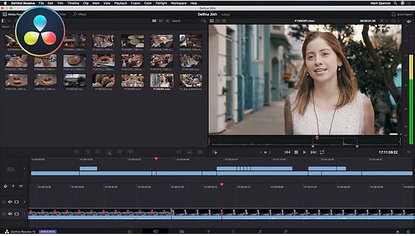 Interface des Videobearbeitungsprogramms von DaVinci Resolve