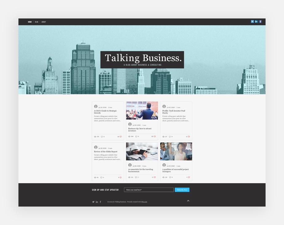 Plantilla de blog de negocios