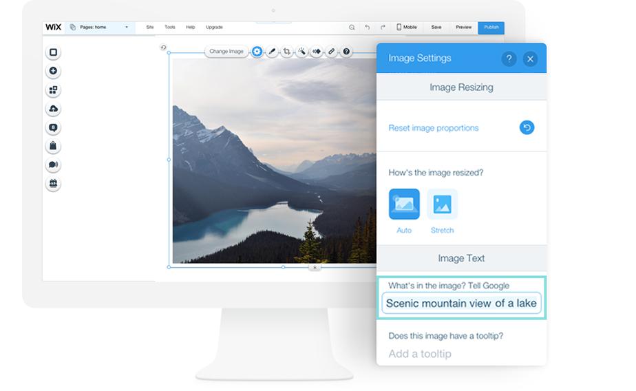 Редактор Wix, панель настроек изображения, добавление alt-текста