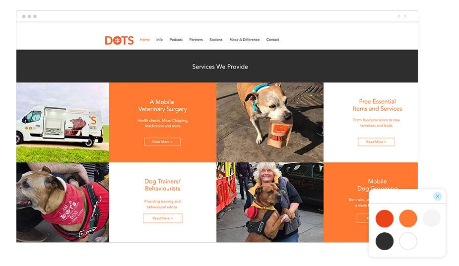 Página web wix de Dogs on the Streets