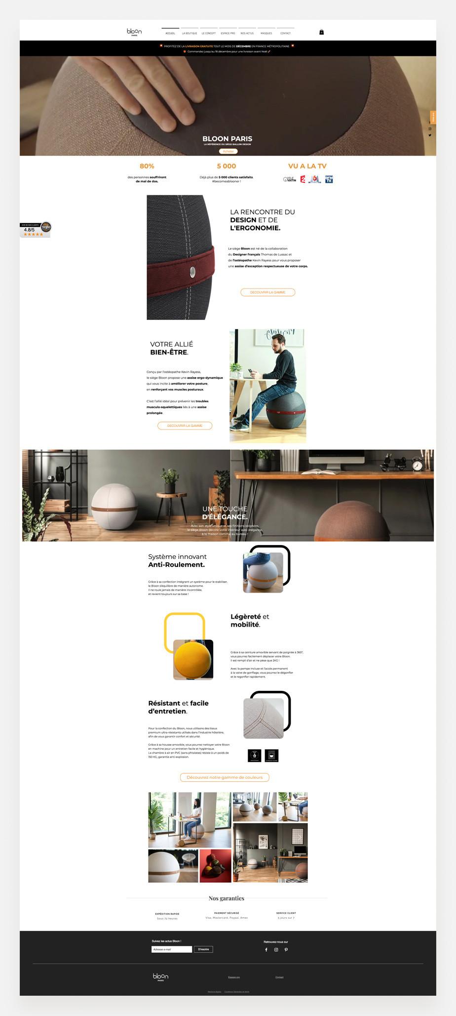 Site internet de Bloon Paris