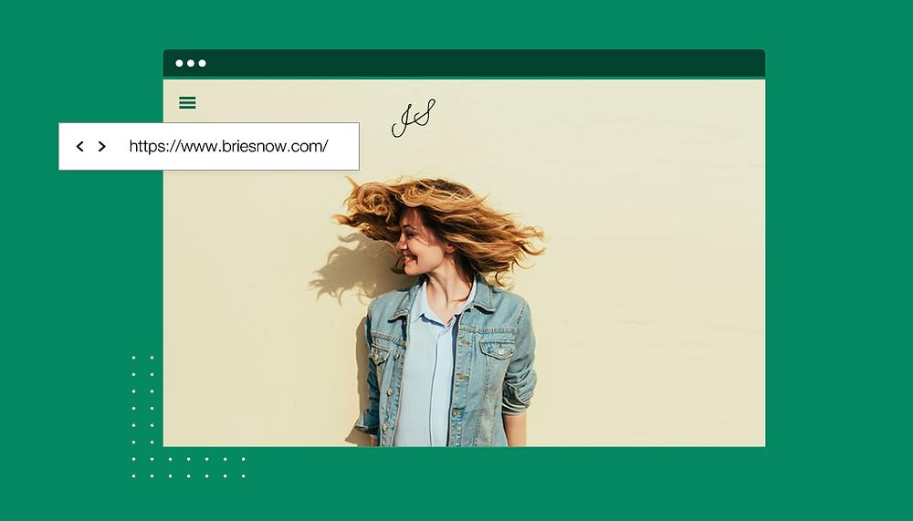 Screenshot eines Computerbildschirms mit einer Frau und URL als Beispiel fürs Domain anmelden