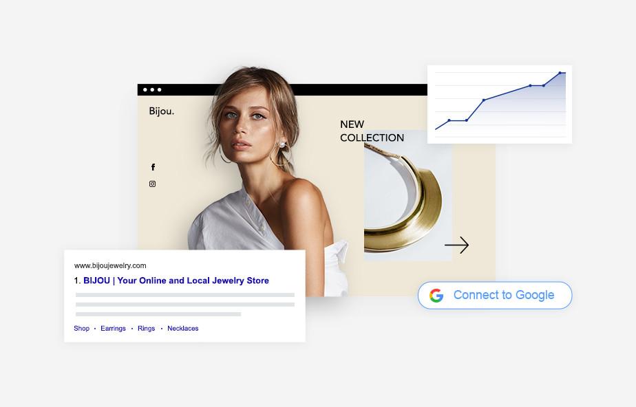 Website mit Frau in den Suchergebnissen von Google