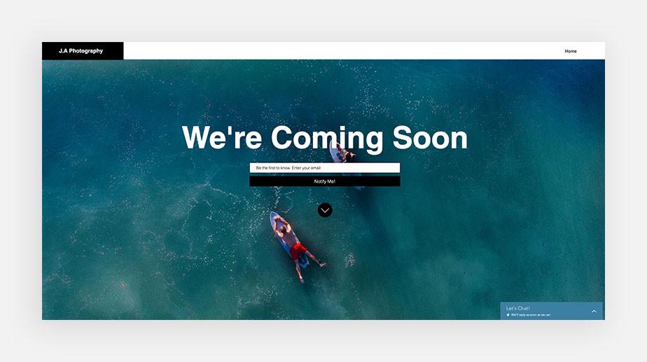 Esempio landing page coming soon
