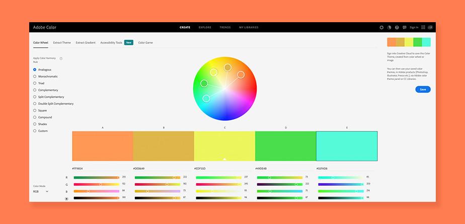 Подбор цветов для сайта — Adobe Color