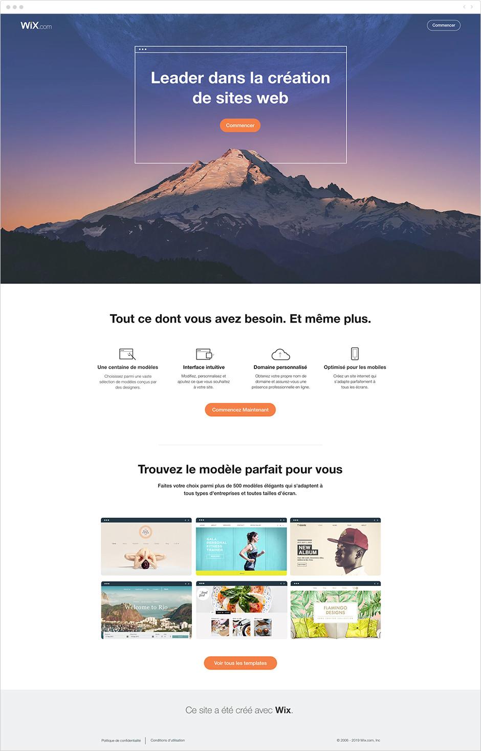 Wix - Landing page