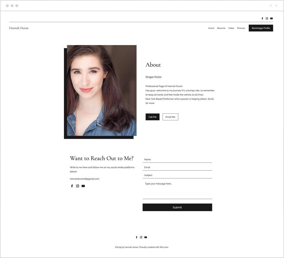 Actor website by Hannah Duran