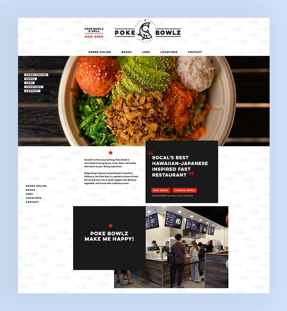 Poke Bowls Wix Restaurant website voorbeeld