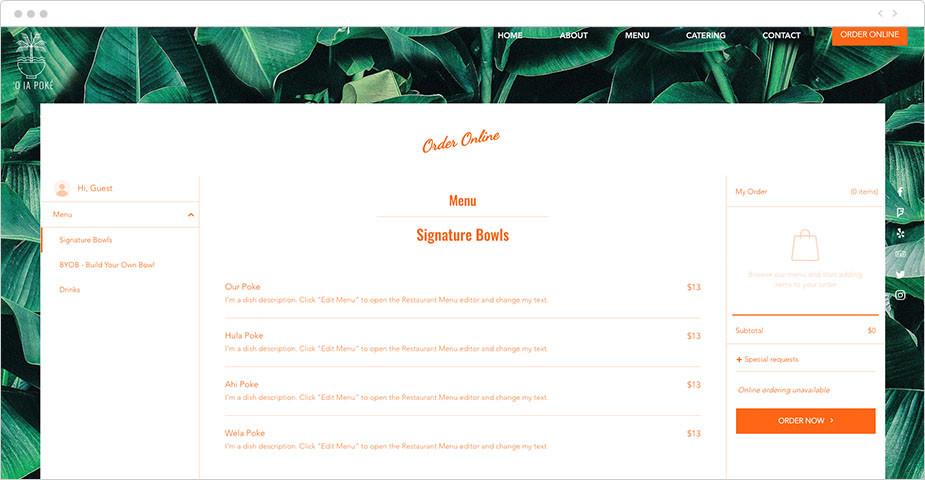 Un menu da asporto creato con l'applicazione Wix Reservations
