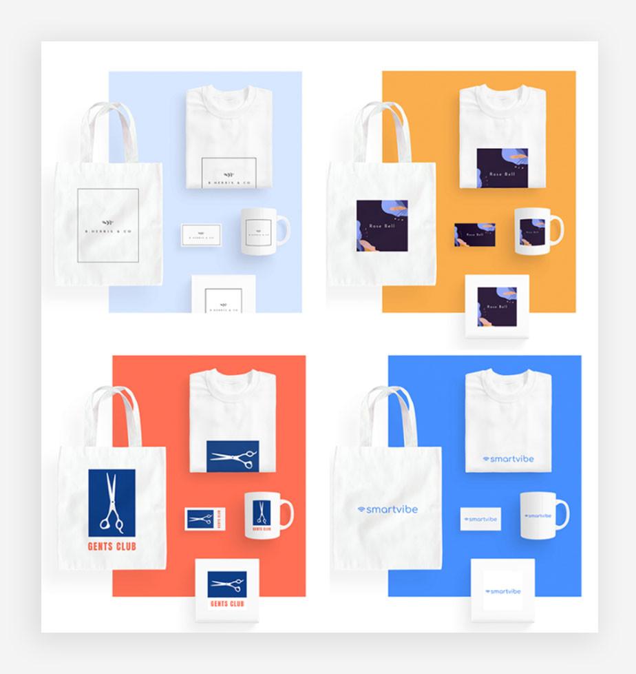 Exemplos de aplicação de conceitos de branding e identidade de marca em produtos (camisera, cartão de visita, caneca, embalagem e eco bag)