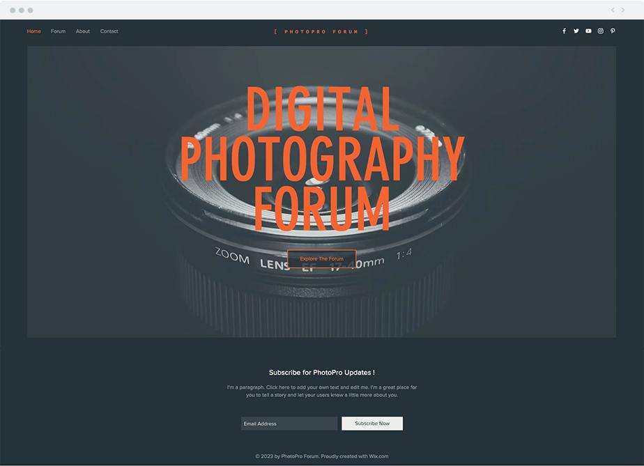 Template blog de photographie