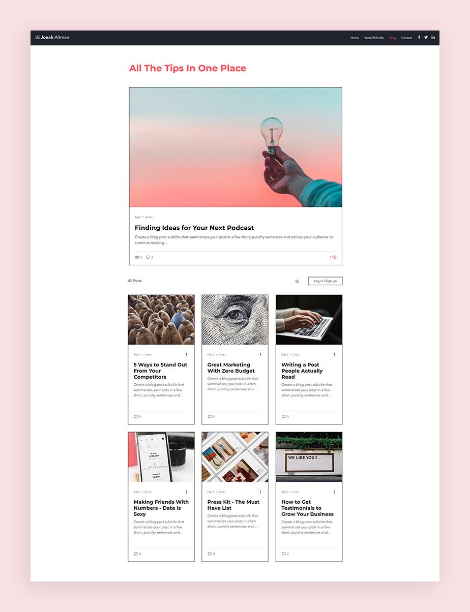 Blog Template von Wix für einen Marketing Blog