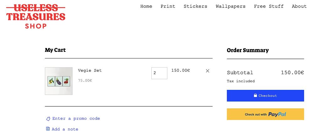 useless treasures pagina di checkout