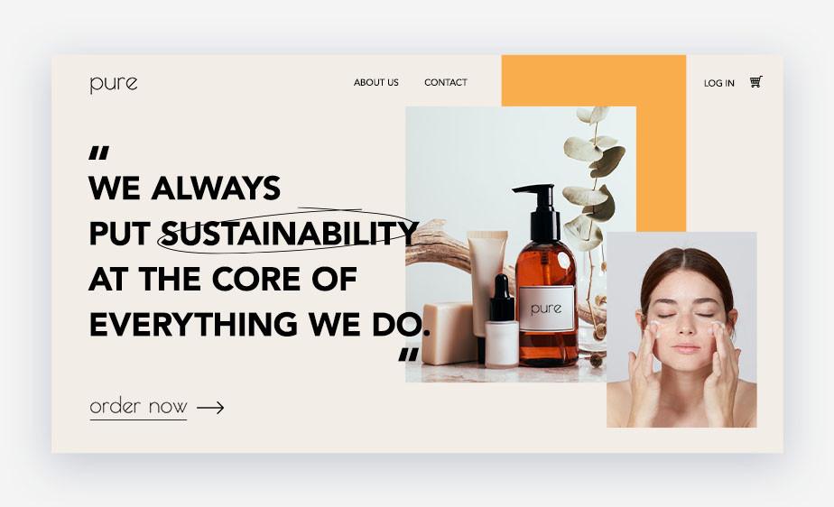 "Exemplo de home de site que exibe o propósito da marca de cosméticos ""Pure"", mencionando valores como sustentabilidade"