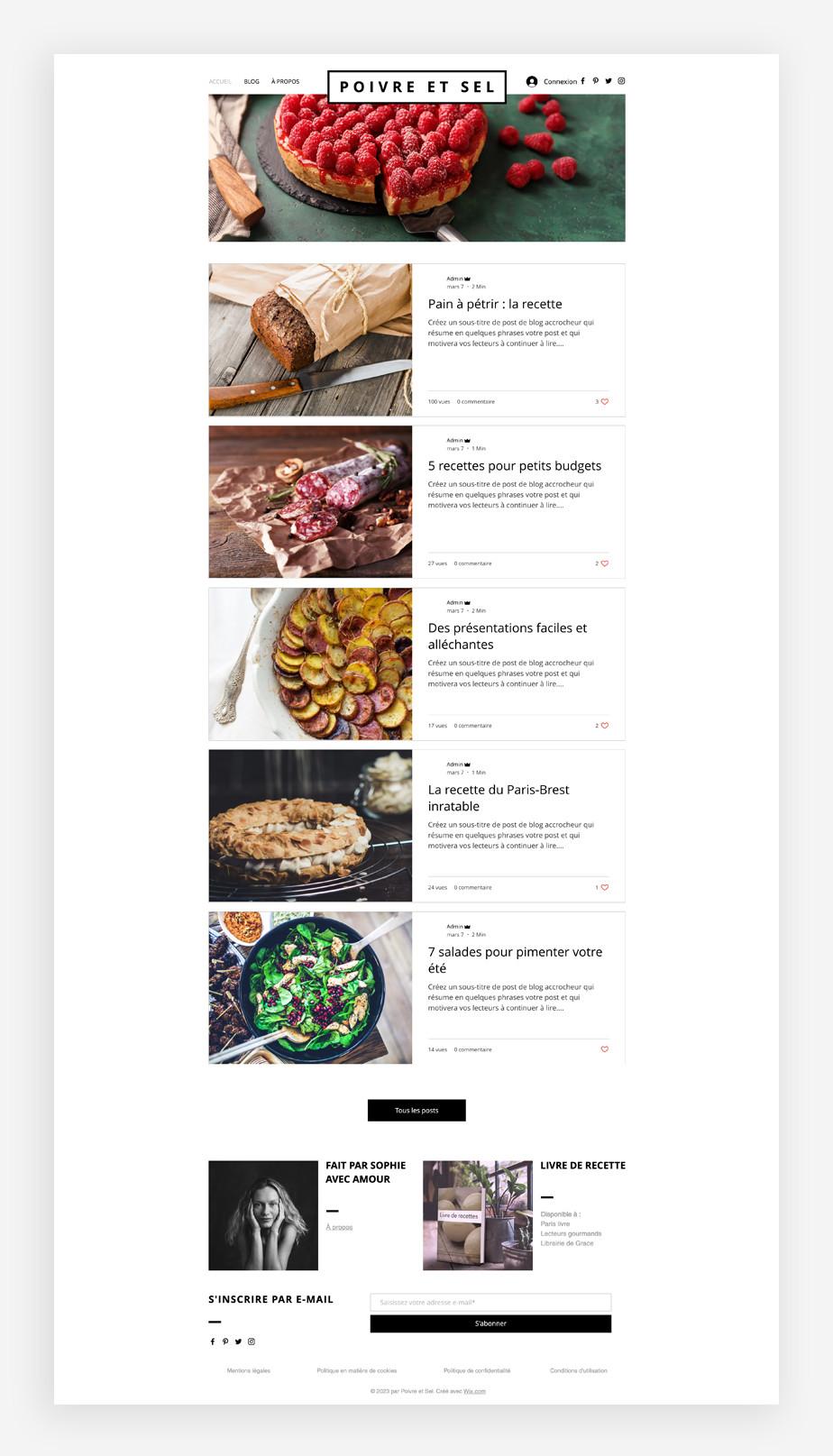 template de blog culinaire
