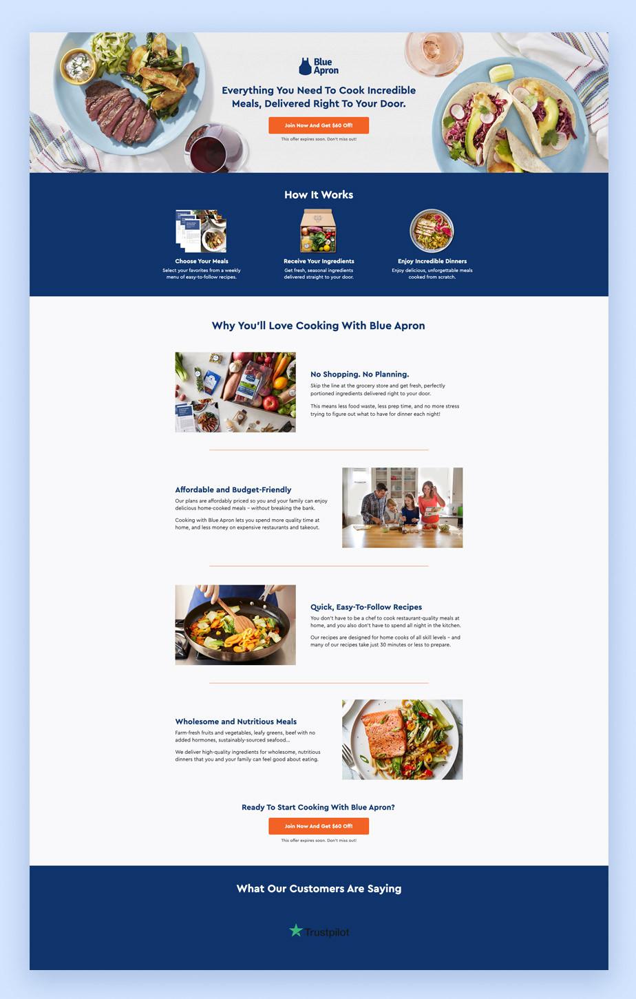 Landing page di Blue Apron