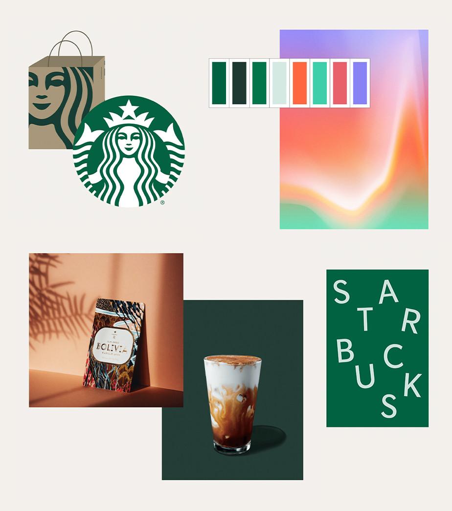 Manual de identidade visual da marca Starbucks mostrando vários elementos, como paleta de cores, tipografia, iconografia e embalagem
