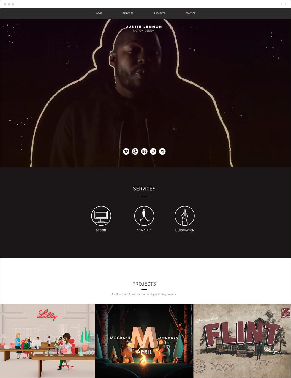 Designer porfolio examples: Justin Lemmon